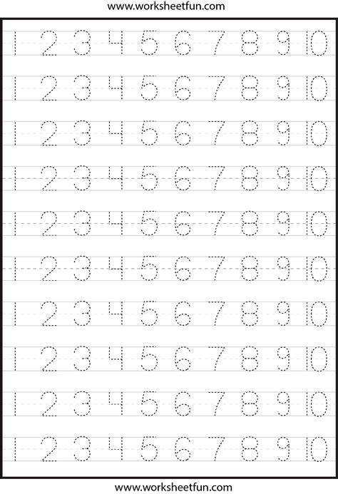 free printable tracing numbers 1 10 worksheets image gallery number tracing 1