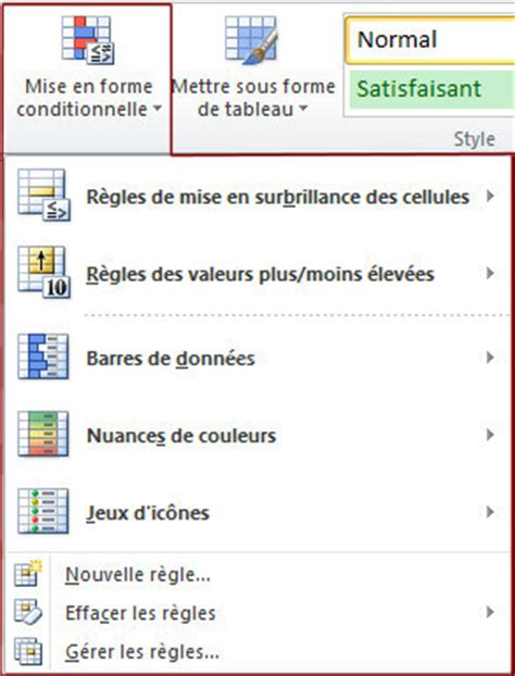 excel 2007 format mise en forme conditionnelle comment faire des mises en formes conditionnelles