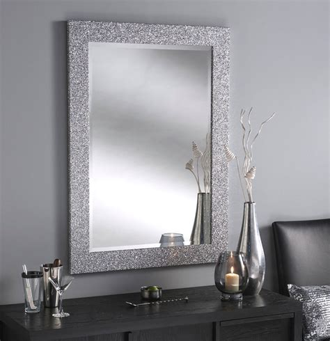 Sparkle Bathroom Mirror Epping Silver Glitter Contemporary Wall Mirrors By Buy A Mirror Uk