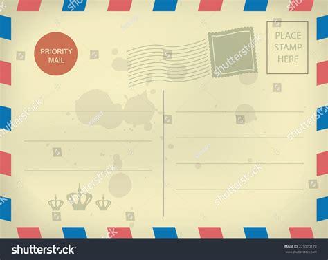 Vintage Style Postcard Template Blank Sts Stock Illustration 221070178 Shutterstock Retro Postcard Template