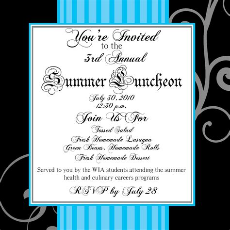 lunch invitation template summer luncheon invitation