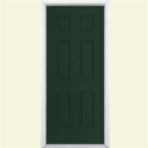32x78 Exterior Door Masonite 32 In X 80 In 6 Panel Conifer Left Inswing Painted Smooth Fiberglass Prehung