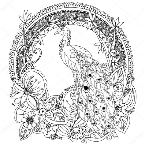 doodle drawing images vector illustration zen tangle peacock and flowers