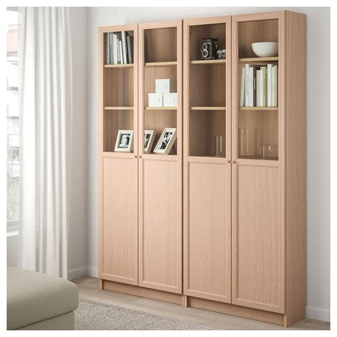Billy Bookcase With Doors White Billy Oxberg Bookcase Combination With Doors White Stained Oak Veneer Glass 160x202x30 Cm Ikea
