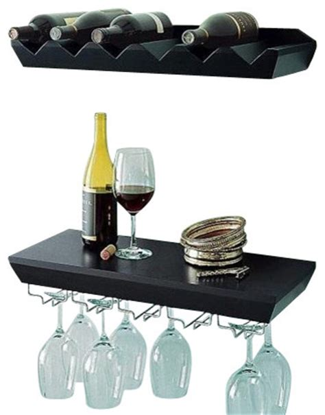 Wine Glass Wall Shelf by Wall Mounted Wine Shelf With Glass Holder Set