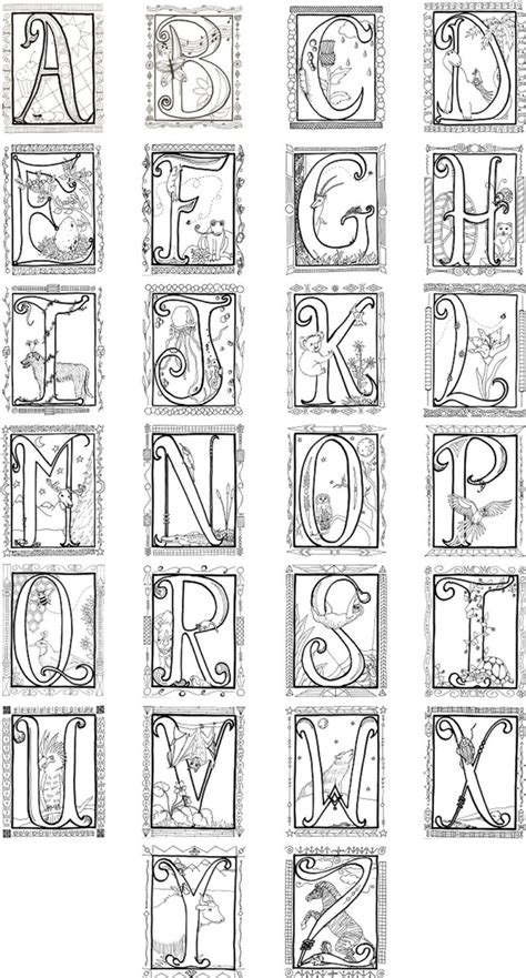 illuminated alphabet coloring poster 8 00 via etsy