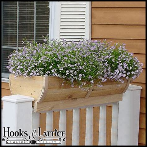 28in rounded cedar deck rail planter half barrel design