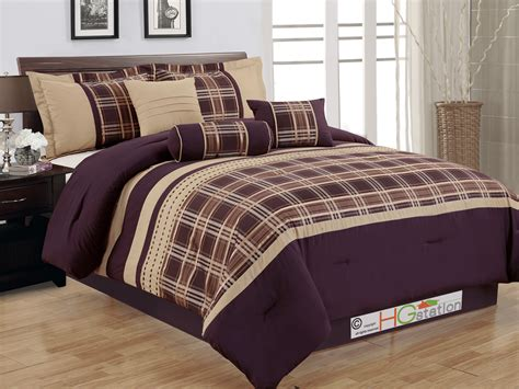 plaid comforter set 7 pc plaid striped embroidery satin comforter set coffee