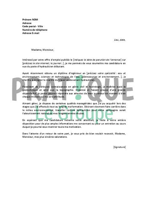 lettre de motivation pour un emploi d hydraulicien d 233 butant pratique fr