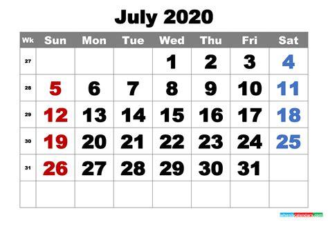 printable july  calendar word  image  printable  monthly calendar