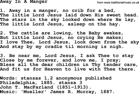 printable lyrics for away in a manger christmas powerpoints song away in a manger lyrics