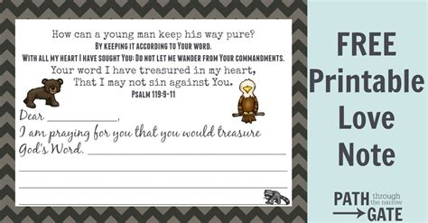 printable version of psalm 119 mailbox love note based on psalm 119