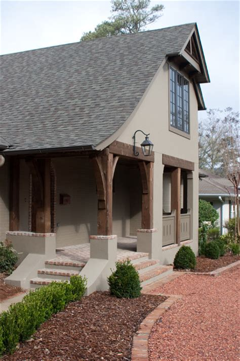 cottage style porch for ranch homes from ranch to tudor cottage renovation traditional