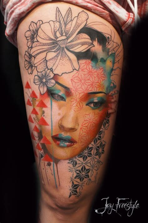 neo japanese tattoo neo japanese style half colored thigh of