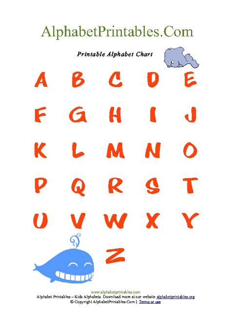 printable a z alphabet chart whale theme alphabet chart for toddlers pdf printable