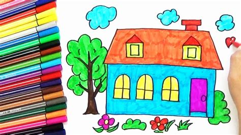 house drawing images www imgkid com the image kid has it how to draw a house tree in the garden for kids easy