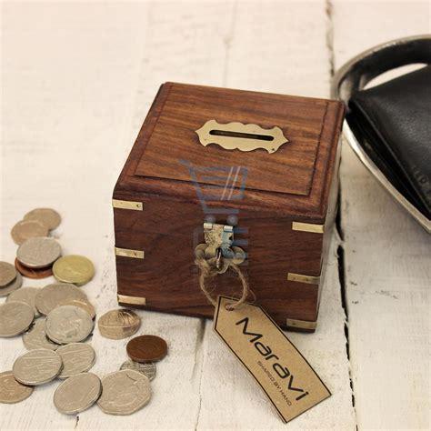 Handmade Money Boxes - wooden money box with brass corners handmade treasure