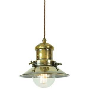 nautical ceiling light nautical style ceiling pendant in aged brass with vintage bulb