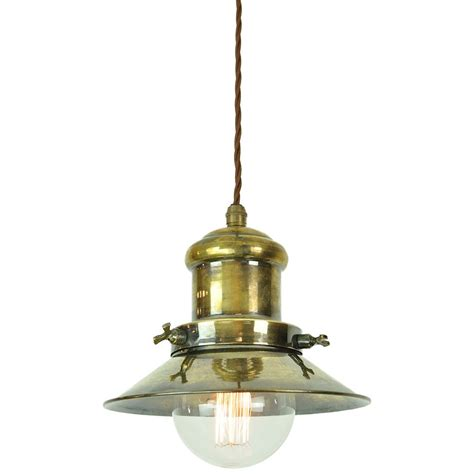 Vintage Pendant Light Nautical Style Ceiling Pendant In Aged Brass With Vintage Bulb