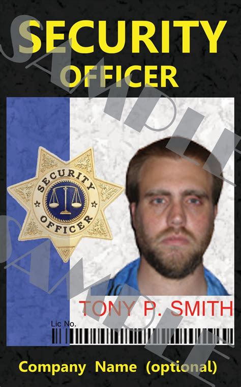 Officer Id Card Templates by Custom Security Officer Id Card Template So45621