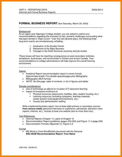 table of contents business report recommendation