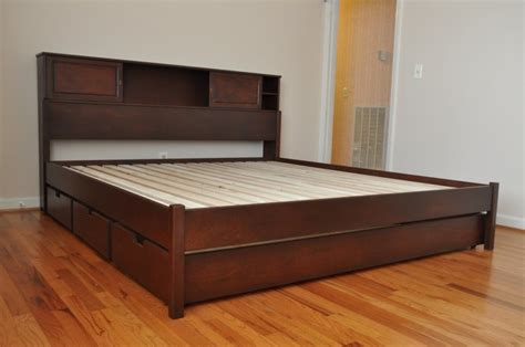 bed frame with drawers size platform bed frame plans howtospecialist how to build step