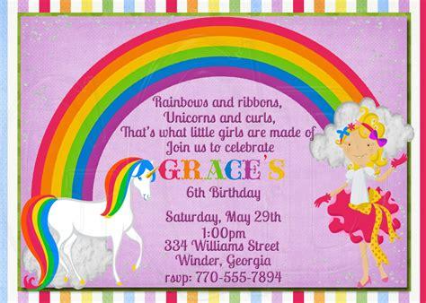 rainbow invitation card template rainbow birthday invitation best ideas