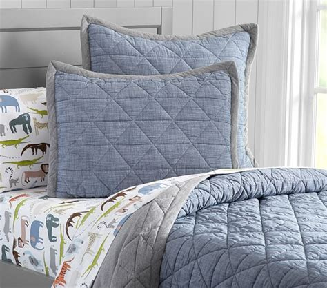 theo chambray quilted bedding pottery barn