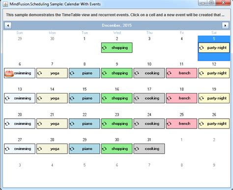 Calendar Java A Monthly Calendar In Java With Events And Recurring