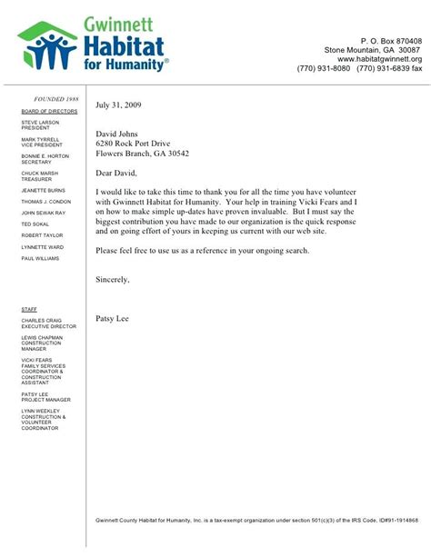 Reference Letter Youth Volunteer sles of letters of recommendation personal letter of