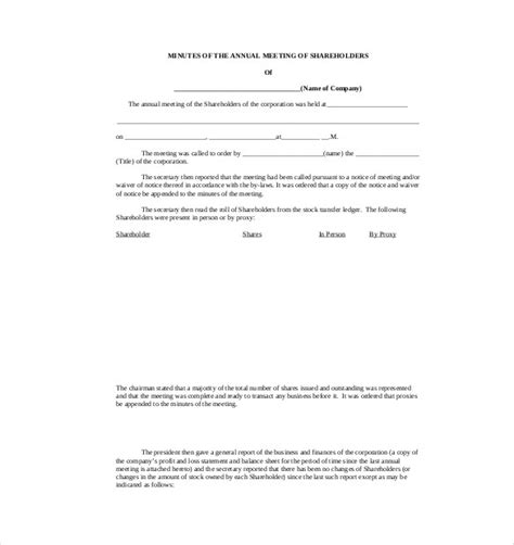 corporate minutes template word charlotte clergy coalition