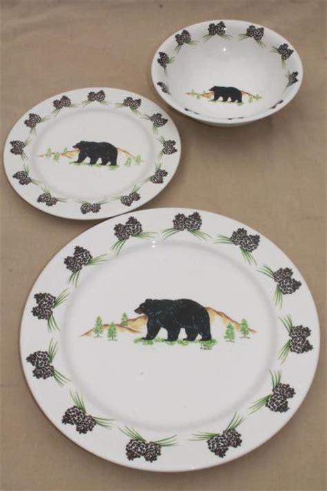 black pattern dinnerware acrita pottery dinnerware rustic pine cones black bear