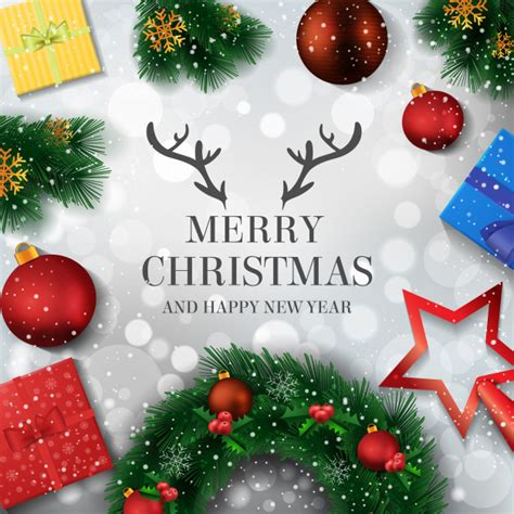 merry christmas  happy  year background vector premium