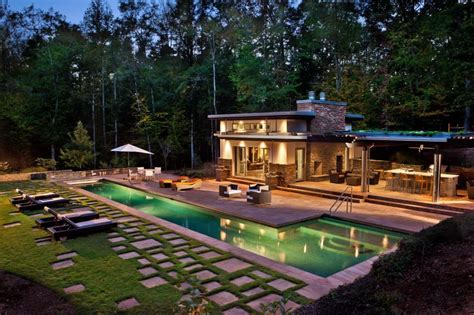 build a pool house rustic home design ideas with small swimming pool also