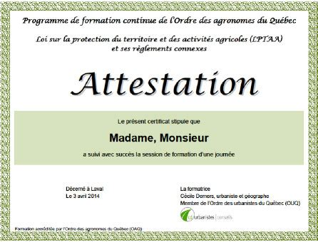 modele attestation formation document