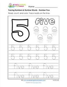 tracing numbers and number words number 5