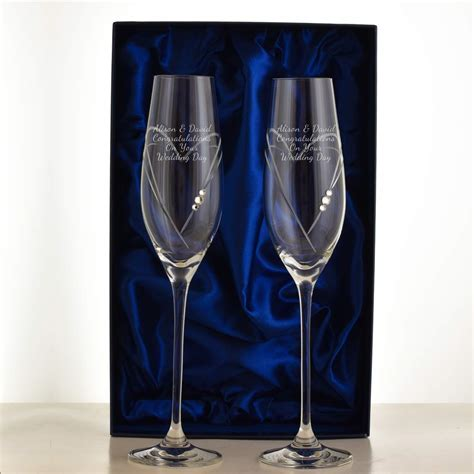 Personalised Swarovski Crystal Love Heart Champagne Flutes