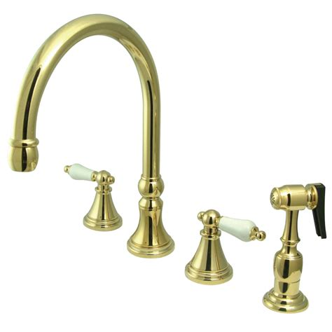 kitchen faucets brass kingston brass ks2792plbs governor 8 quot deck mount kitchen