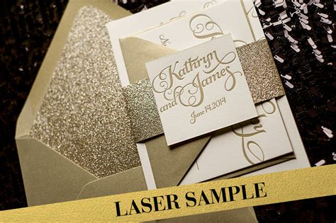 gold sparkle wedding invitations gold glitter laser printed wedding invitation calligraphy