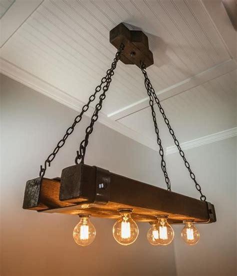 rustic double wood beam chandelier  edison bulbs
