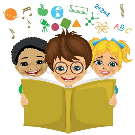 imagenes niños leyendo kids reading a book with education related icons flying