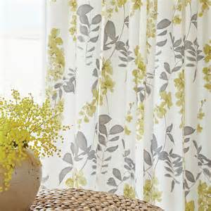 Wisteria grey amp yellow floral tape top curtains at bedeck 1951