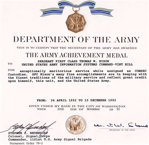 Army Achievement Medal Certificate Template army achievement medal