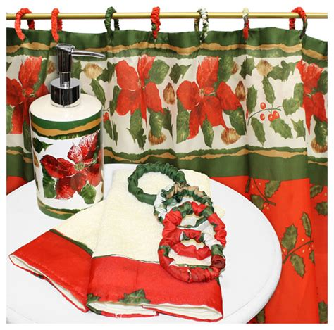 holiday bathroom accessories carnation home fashions christmas floral 16 piece bath set