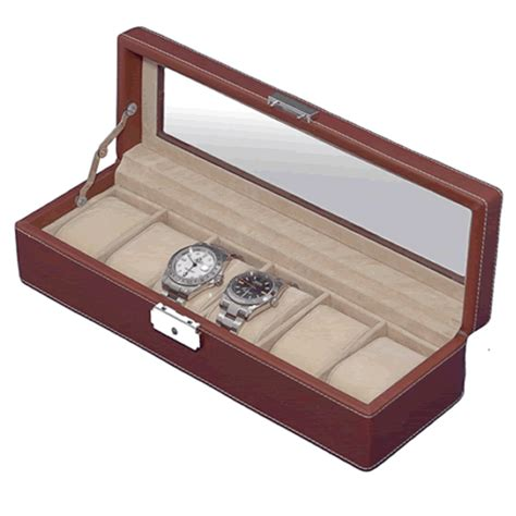 Decorative Display Cases by Brown Leather Six Display With Decorative White