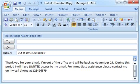 out of office message template doliquid