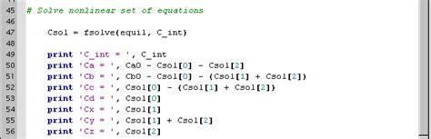 coding last solution solving a system of non linear equations programming