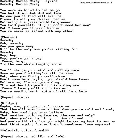 lyrics carey song lyrics for someday carey