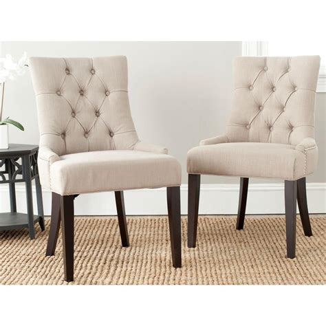 side by side recliners safavieh abby true taupe linen blend side chair set of 2