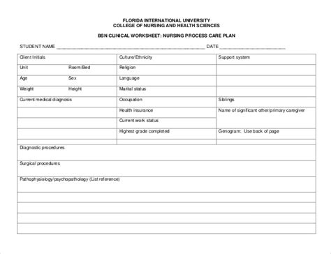 nursing care plan template free nursing templates gallery